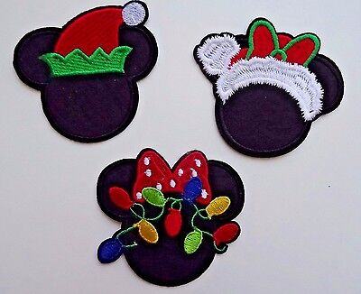 Mickey or Minnie Mouse Disney Christmas Holiday Embroidered Applique Iron On