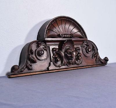 """*27"""" French Antique Pediment/Crest in Walnut Wood with Jester's Face"""