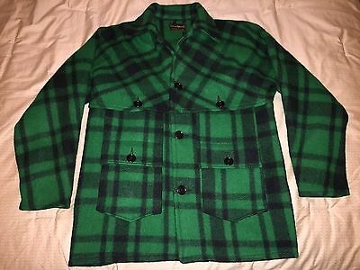 mens large vintage Windward green plaid double mackinaw wool coat L filson