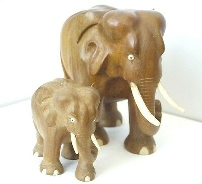 Large Antique Hand Carved Burred Wood Cow Elephant & Calf