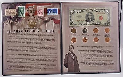 Abraham Lincoln Coins, Stamps, Currency Tribute Set Collection $5, $1, Cents