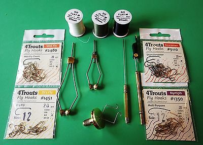 Fly Tying Set for beginners. 5 tools, 80 pcs fly hooks, 3 spools of tying thread
