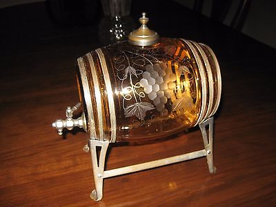 Antique Amber Glass Whiskey Wine Barrel Decanter & 6 Tumblers Grape Pattern
