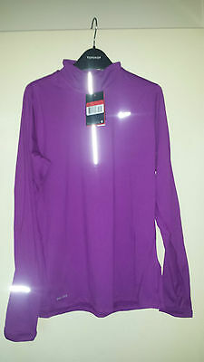 Womens Nike Element 1/2 Zip Long Sleeve Hand Warmer Running Top Berry Size Large
