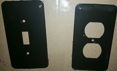 Set of 2 Vintage Metal Painted Black Light Switch Plate & Outlet Cover