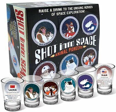 Shot Into Space - 6 Piece Shot Glass Set of Famous Animal Space Pioneers NIB