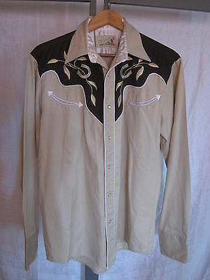 Vintage 1950s Roper Denver Western Shirt Rockabilly Men's M/L Embr. Horseshoes