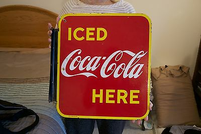 BEAUTIFUL 1949 Coca-Cola Iced Here porcelain flange sign