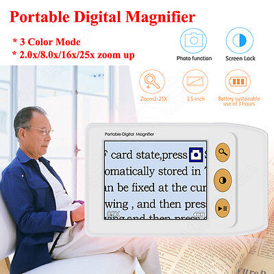 """Nice 3.5"""" LCD Portable Video Digital Magnifier Reading Aid for Low Vision 25x"""