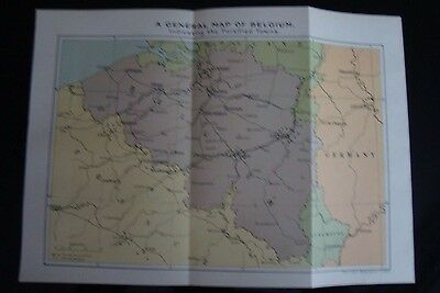 WW1 a map Of Belgium Indicating Fortified Towns