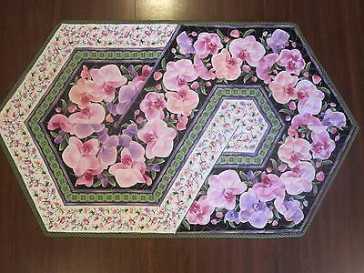 "Hand Made Quilted Table Runner/ Topper / Mat ~ Orchids  ~19"" x 32"""