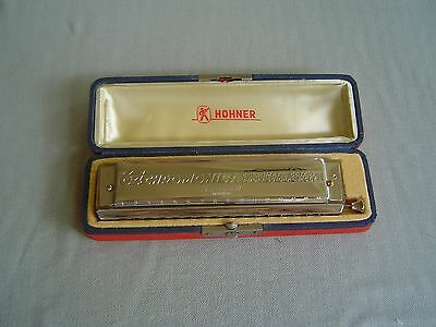 """""""the 64 Chromonica"""" Professional Model 280/64 """"c"""" By M. Hohner & Red Storage Box"""