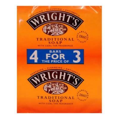 16 x 125g WRIGHTS TRADITIONAL COAL TAR FRAGRANCE SOAP BARS ANTISEPTIC CLEANSING