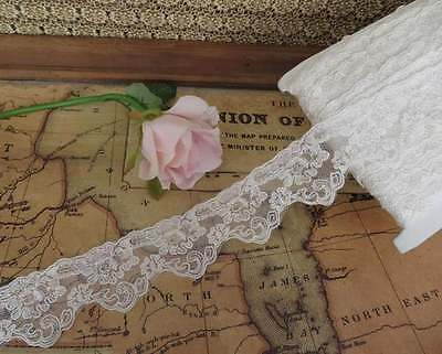 3mt embroidered lace scallop edge trim 4.5cm width, ivory colour