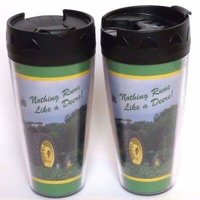 Lot of 2 JOHN DEERE Collectible Plastic Tall Coffee Travel Thermo Serve Cup Mug