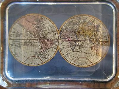 VINTAGE Glass Paperweight Rectangle World Map Glass Felt Back Clear Heavy
