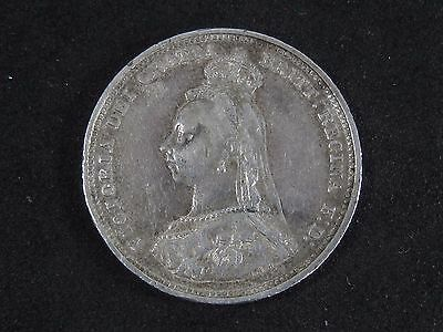 1888 UK-British One Shilling Queen Victoria Silver Coin