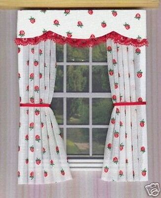 Dolls House Curtains Strawberries And Lace