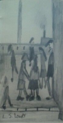 L.S.Lowry - A Small Gathering, original pencil on paper
