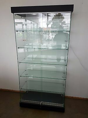 Frameless Glass Display Cabinet with Black Base and Top with holes for downlight