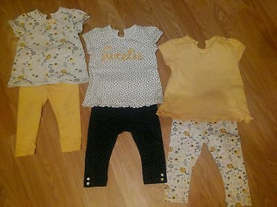Baby girls 9-12 month outfits x3 tops and leggings