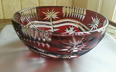 "Stunning Cranberry  Bohemian Crystal Bowl 6"" Excellent Design"