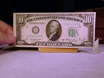 Folding/cutting error on $10 1950 A Federal Reserve Note
