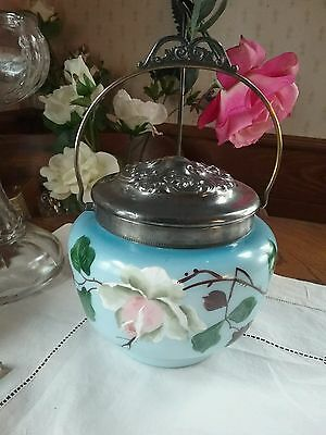 Excellent Antique Victorian Hand~painted Pewter Repousse Handled Biscuit Jar