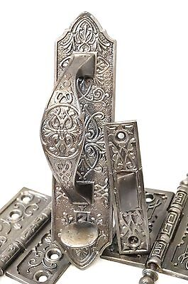 Vintage Antique Door Hardware Hinges Ornate Cast Iron Victorian Handle Rare Set