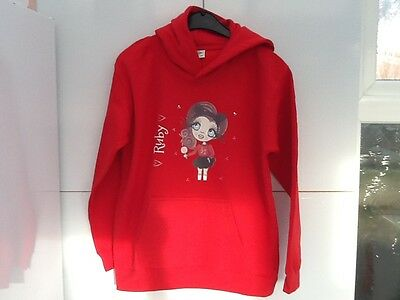 girls Ruby Fleece Brand new red hooded top ClaireaBella Varsity Hoodie age 9- 11