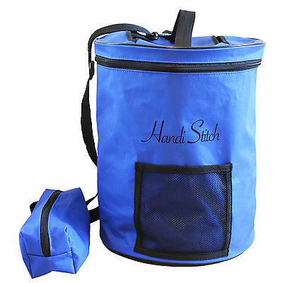 Blue Knitting Bag for Yarn & Wool Storage. Portable Lightweight & Easy to Carry