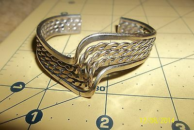 Sterling Silver - TAXCO MEXICO Twisted ribbed  Cuff 19g - Bracelet