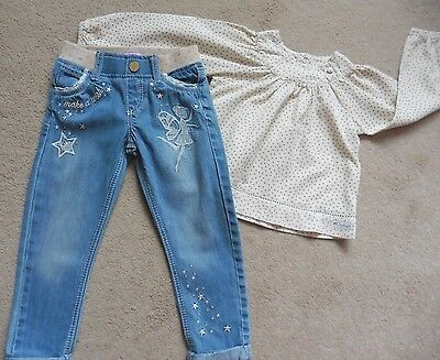 Girls Berlingot Top + Pair Of F & F Jeans, Age 2- 3 Years