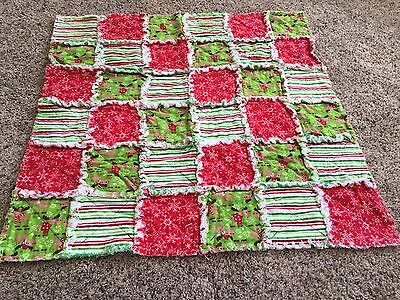 Christmas reindeer baby flannel rag quilt