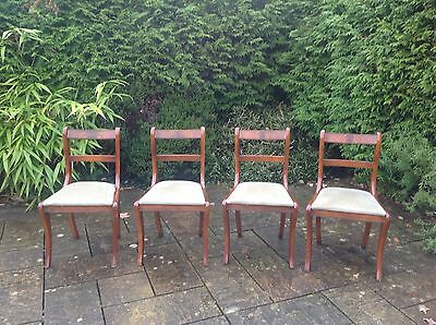 Set of 4 Dining Chairs - Green velvet type fabric upholstered seats