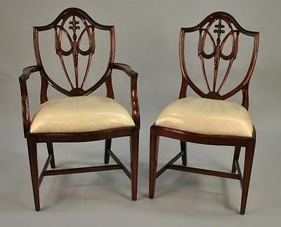 Mahogany Shield Back Dining Chairs, Fleur De Lis Shield Back