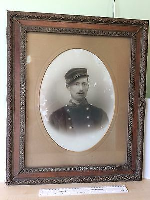 Military Old Portrait Wooden Brass Framed Picture WW1? French Soldier, Signed