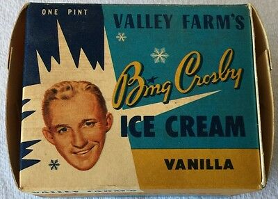 Vintage BING CROSBY VANILLA ICE CREAM EMPTY Carton Box 1953