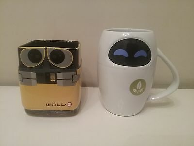 The Disney Store Walle And Eve 3D Character Mugs New