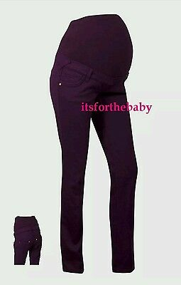 NEW Stylish & Comfortable Dark Purple Over Bump Maternity Trousers Size 12