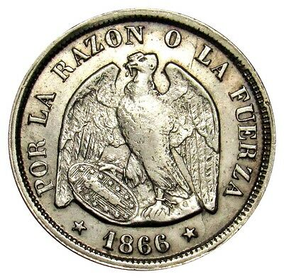 Chile 20 Centavos silver coin 1866 KM# 135 VF VE01