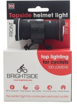 Topside Bike Helmet Light. Twin Front/Rear Lights With Free Dust Cap Lights