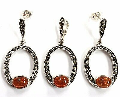 Stunning Art Deco Style Amber Marcasite Set Pendant Earrings Sterling Silver 925