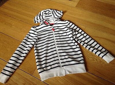 Girls White And Navy Hooded Zip Up Jacket George 8-9 Years 100% Cotton