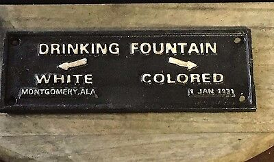 """Cast Iron Black Americana """"Drinking Fountain White Colored"""" Plaque Wall Sign"""