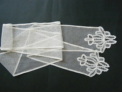 19c Antique Princess  Lace handmade lappet scarf bow tie sash hair ribbon