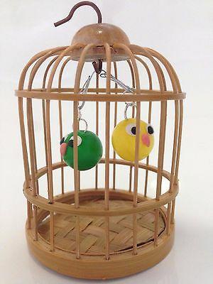 Cute Yellow Canary and Green Sweet Pea Chicks in Birdcage Gift