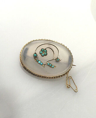ANTIQUE VICTORIAN  Chalcedony Agate Turquoise Brooch - gold band