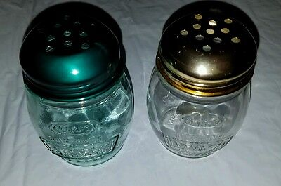 Vintage Kraft Green & Clear Glass Grated Parmesan Cheese Jar Shaker Set Pepper