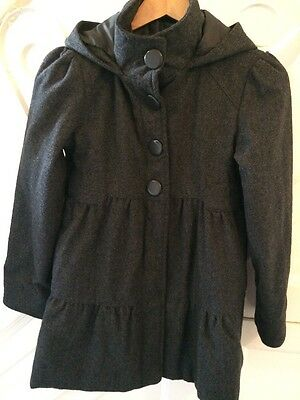Girls Hooded Coat In Charcoal Age 11-12 Years M&S